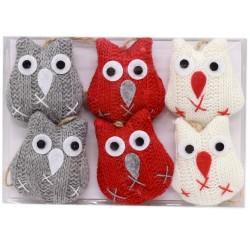 IMP-EX Vianočné ozdoby z textilu na zavesenie 6 ks - sovy