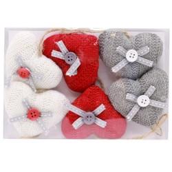 IMP-EX Vianočné ozdoby z textilu na zavesenie 6 ks - srdiečka