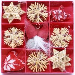 IMP-EX Vianočné ozdoby na zavesenie zo slamy a filcu 24 ks - so škriatkami