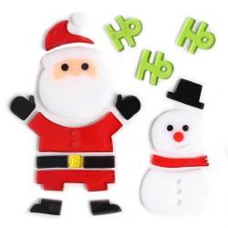 Vianočné ozdoby - nálepky na okno snehuliak a Mikuláš Ho Ho Ho