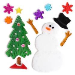 Vianočné ozdoby - nálepky na okno snehuliak a stromček