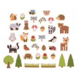 BIGJIGS Drevené magnetky - Lesné zvieratká