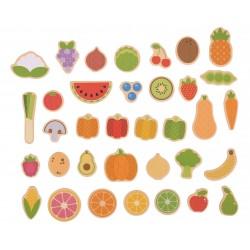 BIGJIGS Drevené magnetky - Ovocie a zelenina