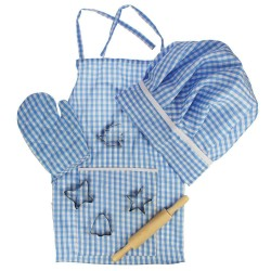Detská 8-dielna sada oblečenia pre kuchára - modrá