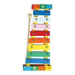 Detský farebný xylofón - dúhový s kvietkami