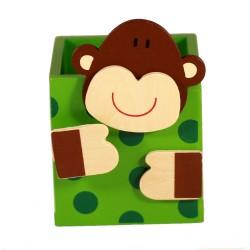 Drevený stojan na ceruzky - opica