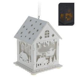 Drevený svietiaci domček - Mikuláš na saniach
