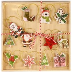 Drevené ozdoby na vianočný stromček 12 ks - farebné s Mikulášmi