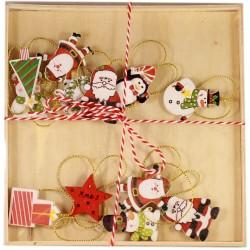 Drevené ozdoby na vianočný stromček 12 ks - farebné so snehuliakmi