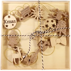Drevené ozdoby na vianočný stromček 12 ks - zlaté a natur so sánkami