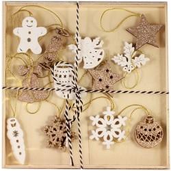 Drevené ozdoby na vianočný stromček 12 ks - zlaté a biele s medovníkom