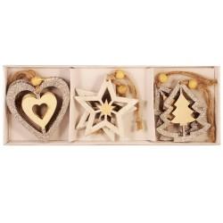 Drevené ozdoby na vianočný stromček 6 ks - hviezdičky, srdiečka, stromčeky so striebornými trblietkami