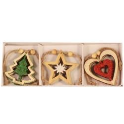 Drevené ozdoby na vianočný stromček 6 ks - hviezdičky, srdiečka, stromčeky s farebnými trblietkami