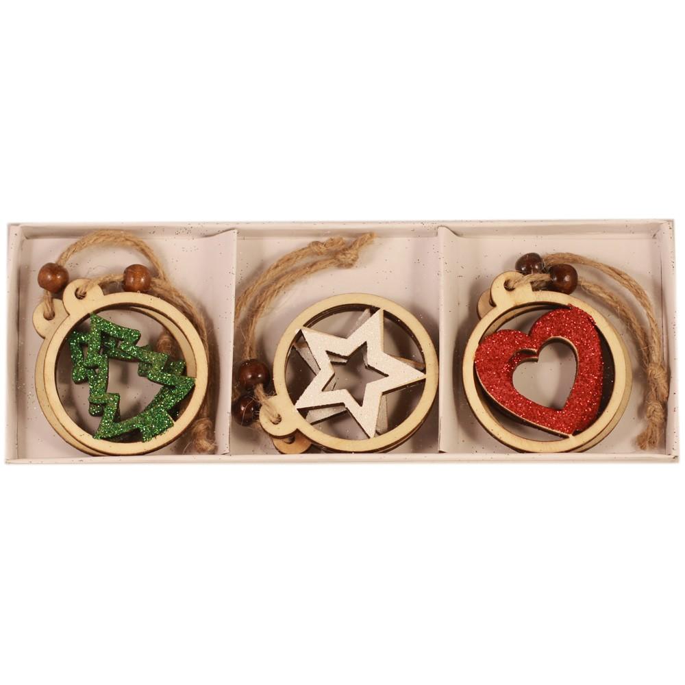 Drevené ozdoby na vianočný stromček 6 ks - hviezdičky e1a1fce4ade