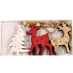 IMP-EX Drevené vianočné ozdoby na zavesenie 6 ks - stromček, srnka, jeleň