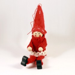 IMP-EX Vianočná ozdoba na zavesenie - sediaca figúrka s dlhými nohami - červená