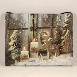 LED obraz na plátne 15 x 20 cm - Vianočná výzdoba v okne