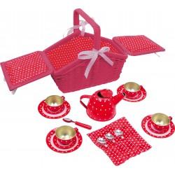 Detská čajová súprava v piknikovom košíku - červená so srdiečkami