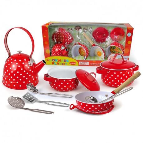 Detská kuchynská sada 12-dielna červená s bodkami