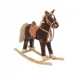 FORTUNE Detský plyšový hojdací koník so zvukom - 75 cm veľký hnedý