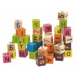 WOODY Drevené kocky - Abeceda a čísla