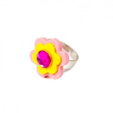 Detský prsteň - kvietok ružovo-žltý