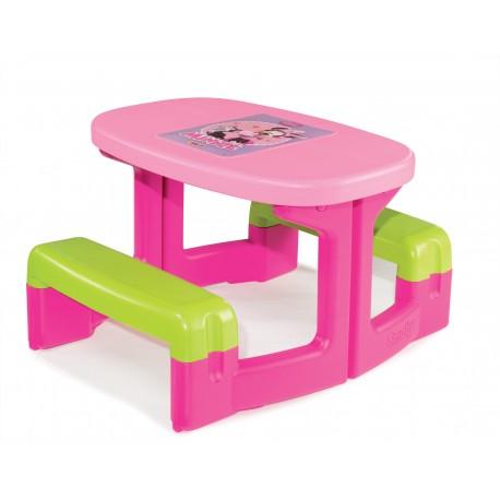 SMOBY Detský piknikový stolík Minnie s úložným priestorom a otvorom na slnečník