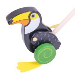 BIGJIGS Drevená hračka na tlačenie - Tukan