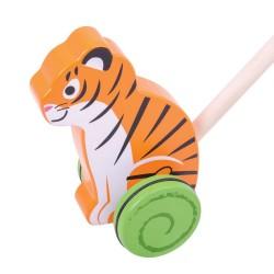 BIGJIGS Drevená hračka na tlačenie - Tiger