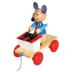 Woody Drevená hračka na ťahanie - Myš s xylofónom