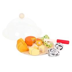 Drevené potraviny na krájanie - syrový tanier s poklopom