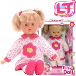 LOKO Bábika s vlasmi na česanie - v ružovo-bielych šatách