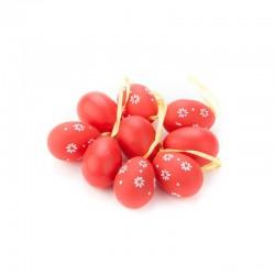 Veľkonočné vajíčka stredne-veľké 9 ks - červené s kvietkami