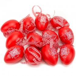 Veľkonočné vajíčka veľké 12 ks - červené so vzorom výšivky