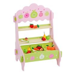 Mentari Drevený detský predajný stánok s ovocím a zeleninou - ružový