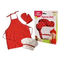 Detská 3-dielna sada oblečenia pre kuchárov - bodkovaná