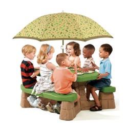 STEP2 Detský piknikový stolík so slnečníkom - natur farby