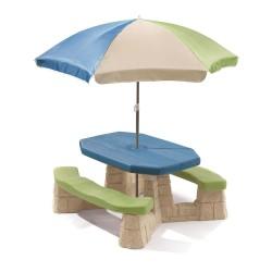 STEP2 Detský piknikový stolík so slnečníkom - modro-zelený