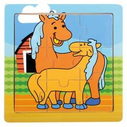 BINO Drevené puzzle pre najmenších - Koníky