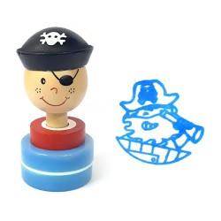 Detská drevená pečiatka - Pirát modrý