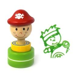 Detská drevená pečiatka - Pirát zelený