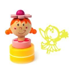 Detská drevená pečiatka - Víla žltá