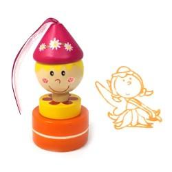 Detská drevená pečiatka - Víla oranžová