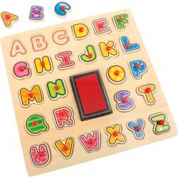 Legler Drevené puzzle - Pečiatky s abecedou