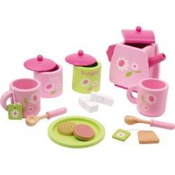 Drevená čajová súprava - ružová s kvietkami