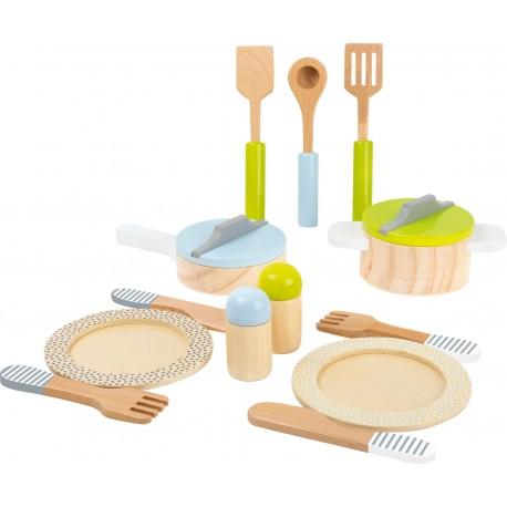 Legler Detská drevená kuchynská sada na varenie a stolovanie