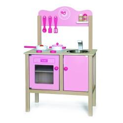 VIGA Detská drevená kuchynka - ružová s doplnkami