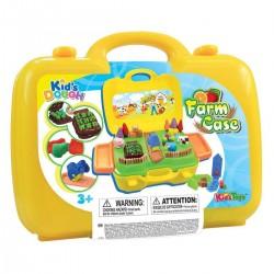 KID´S TOYS farebná plastelína set Farma v kufríku
