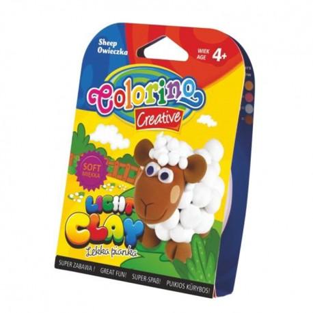 Colorino Kids farebná modelovacia hmota Light Clay Farma - set na zhotovenie zvieratka - Ovečka