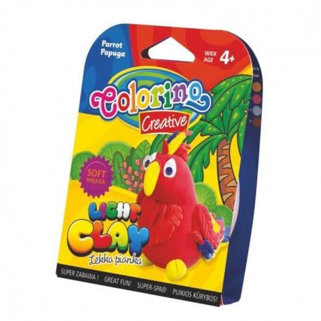 Colorino Kids farebná modelovacia hmota Light Clay ZOO - set na zhotovenie zvieratka - Papagáj